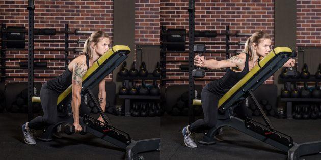 Упражнения на спину: Обратные махи гантелями лёжа на животе