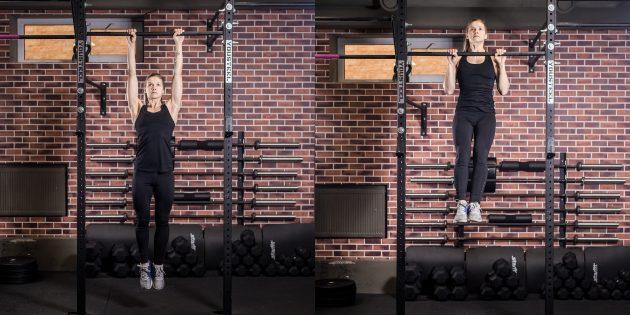 Упражнения на спину: Подтягивания прямым хватом