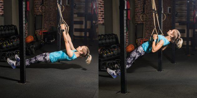 Упражнения на спину: Наклонные подтягивания